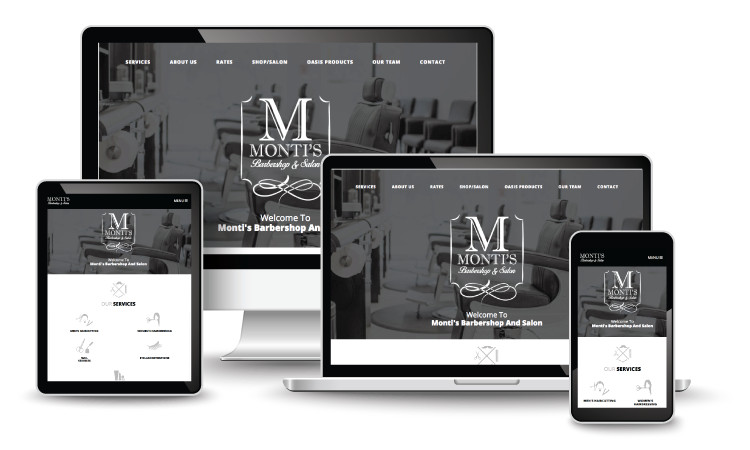 Monti's Barbershop homepage design on various devices