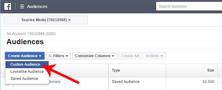 Create a custom audience on Facebook
