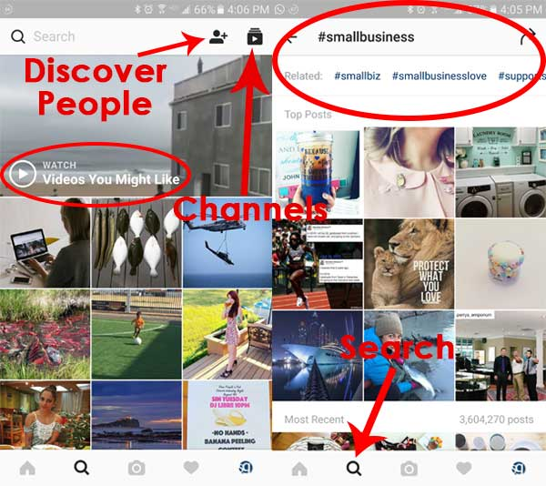 Instagram discovery options
