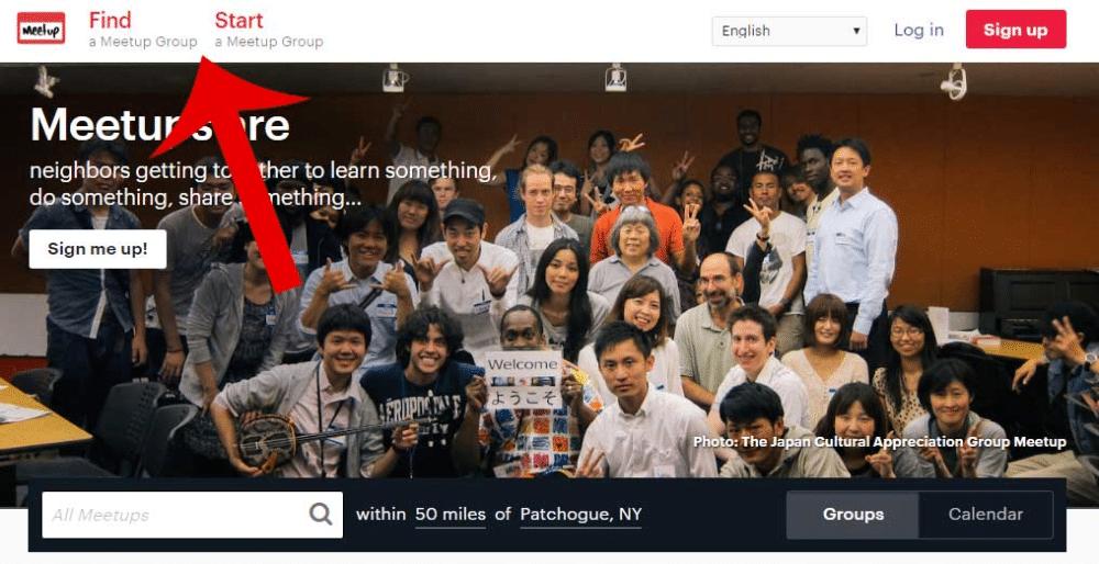Meetup.com home page screenshot