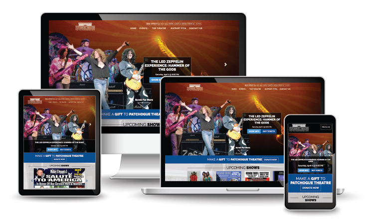 Patchogue Theatre for the Performing Arts homepage on various devices and screen sizes