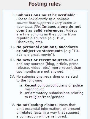 Reddit TIL rules