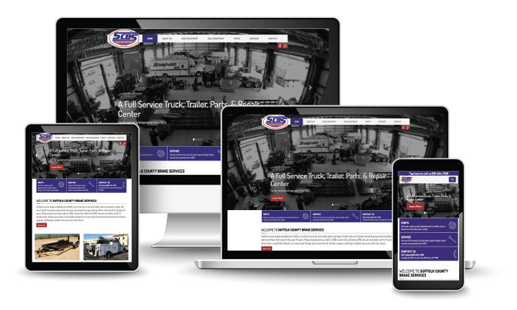 Suffolk County Brake Service website homepage on various screen sizes